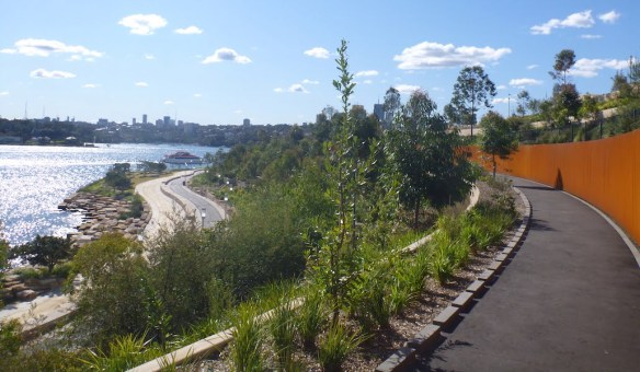 Barangaroo Point Park with open edging for rain drainage