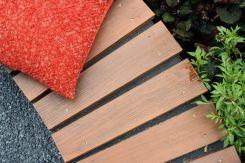 Timber seat detail in The Tea Garden Design Ross Uebergang Japan World Flower and Garden Show 2015.