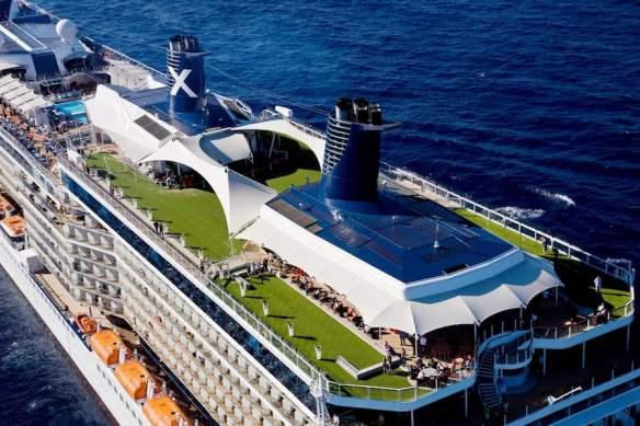 Celebrity Solstice with its top deck lawn area