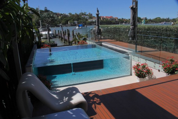 Design Yards Landscaping Brisbane with spectacular riverside pool