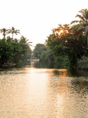 The sunset begins well. Kerala backwaters.