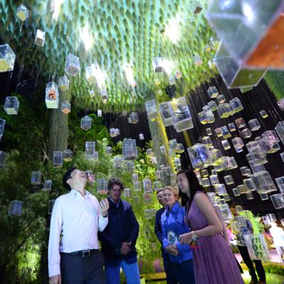 Fantasy Gardens, Minister Wong at Stefano Passerotti's design. Photo courtesy of Singapore Garden Festival