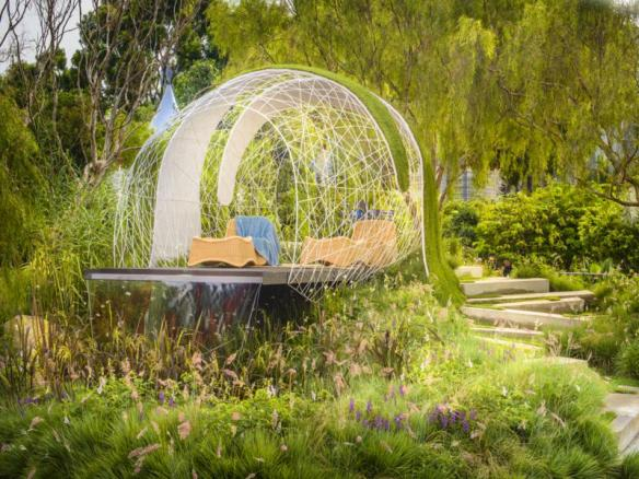 Pod seating in 'Back to Nature' garden