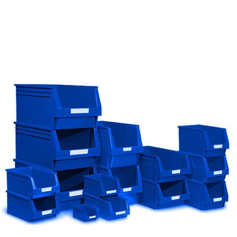 Caja de pl stico apilable con abertura frontal color azul for Cajas de plastico precio