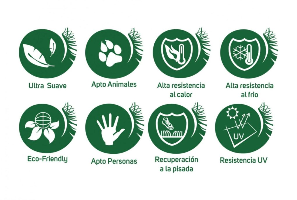 logotipos de caracteristicas de cesped artificial intercesped