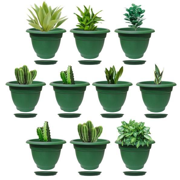Elegance Green Planter 12 Inch Saucer Set of 10-min