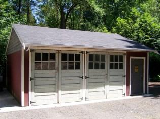 Old doors on the Dardis home's garage