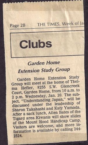 Garden Home Extension Study Group newspaper clipping
