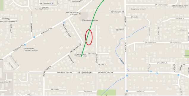 The crash occurred in the general area west of SW 82nd Ave and north of SW Taylors Ferry Rd along the railroad tracks (shown in green). Portions of the railroad bed are still visible today.