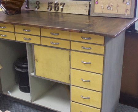 Old drugstore counter into workstation