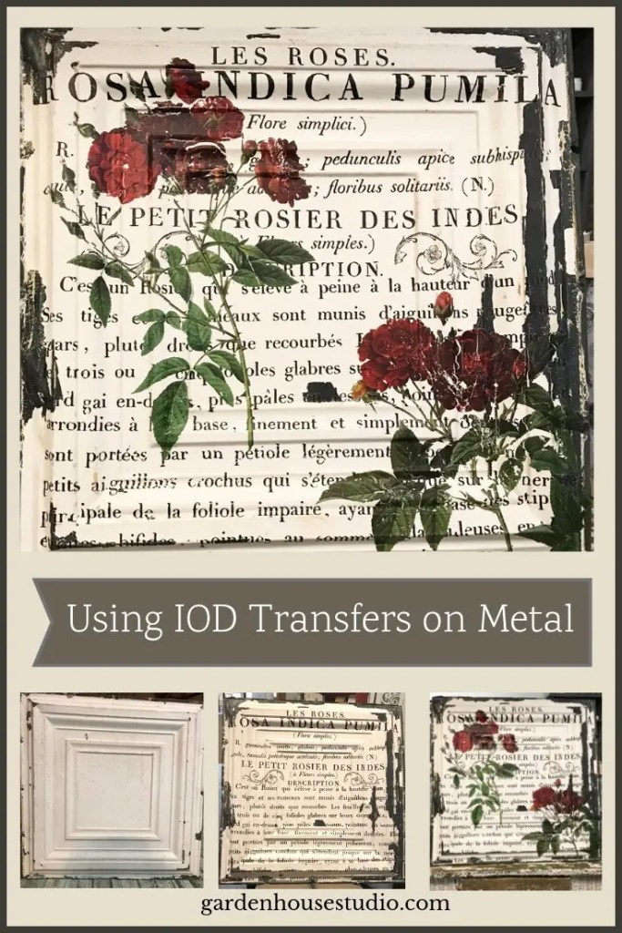 IOD Transfer on Metal. Florals and Script depicting a French Botanical Print on a Metal Ceiling Tile
