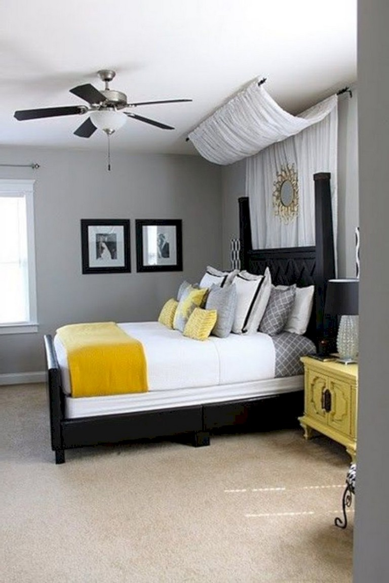 45 Cozy Grey Yellow Bedrooms Decorating Ideas
