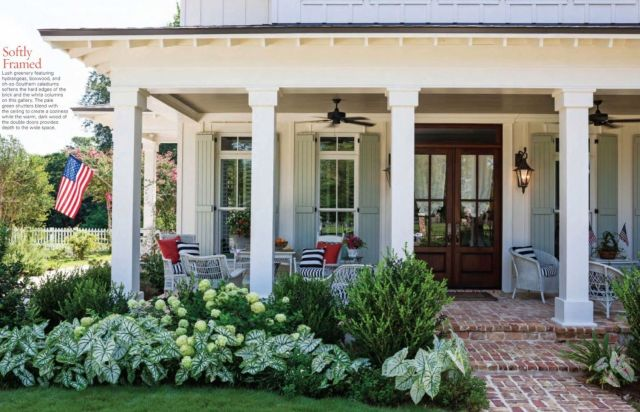 Awesome landscaping in front of porch