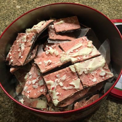 Sliced Peppermint Bark in tin