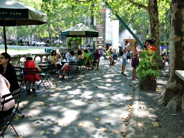 people sitting in Bryant Park