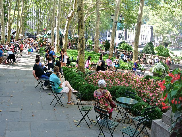 Bryant Park -people seating