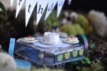 birthday cake in the apple fairy garden