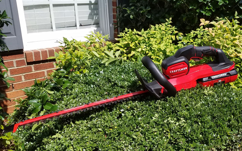 Craftsman 60V Hedge Trimmer on shrub