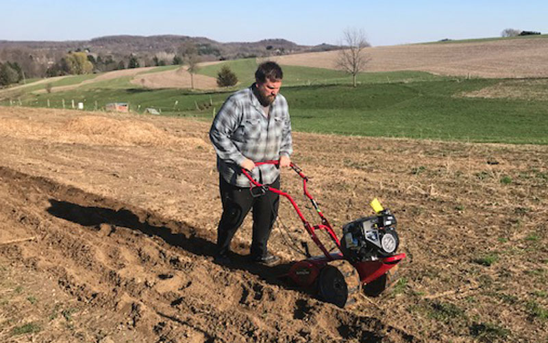 Earthquake Victory Rototiller in use