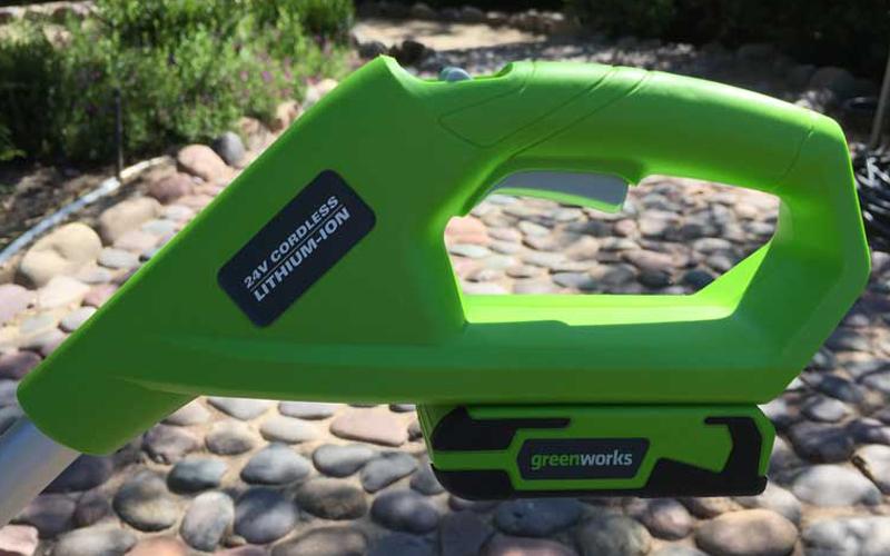 Greenworks 24V Cordless String Trimmer 21342 Handle and Battery Pack