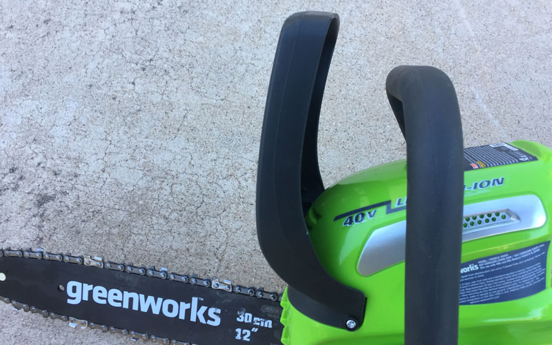 Greenworks Chainsaw no chain brake only cutting guard