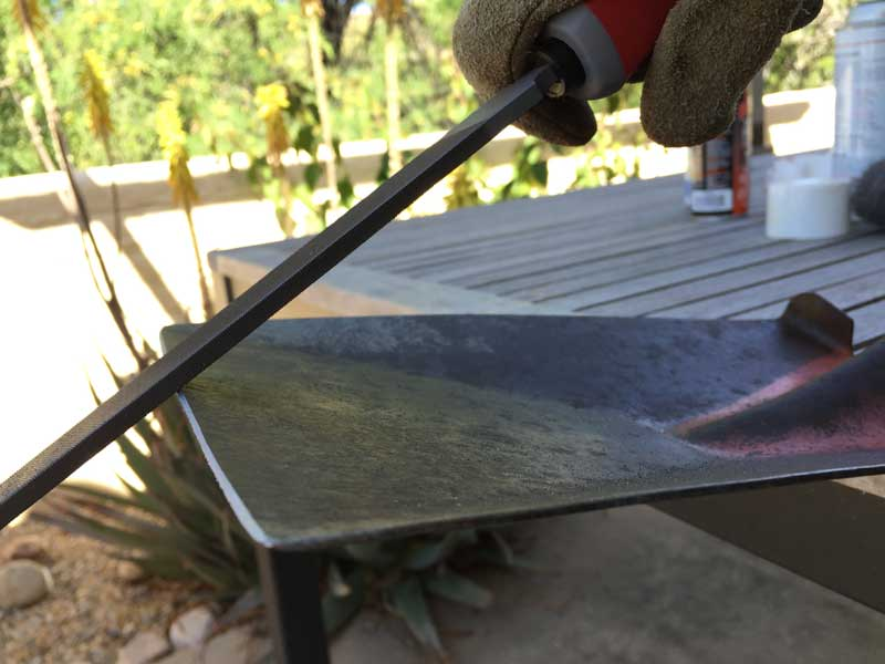 file spade edge at 45 degree angle