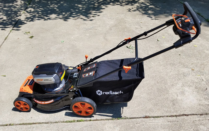 Redback mower with bag attached