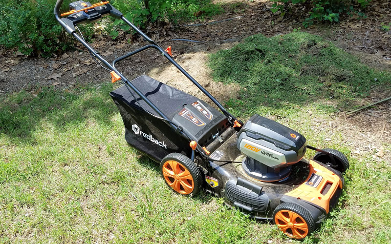 Redback mower with grass clippings