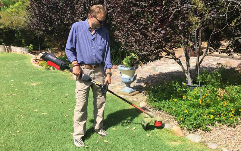 Troy-Bilt Cordless String Trimmer TB4200 in Use