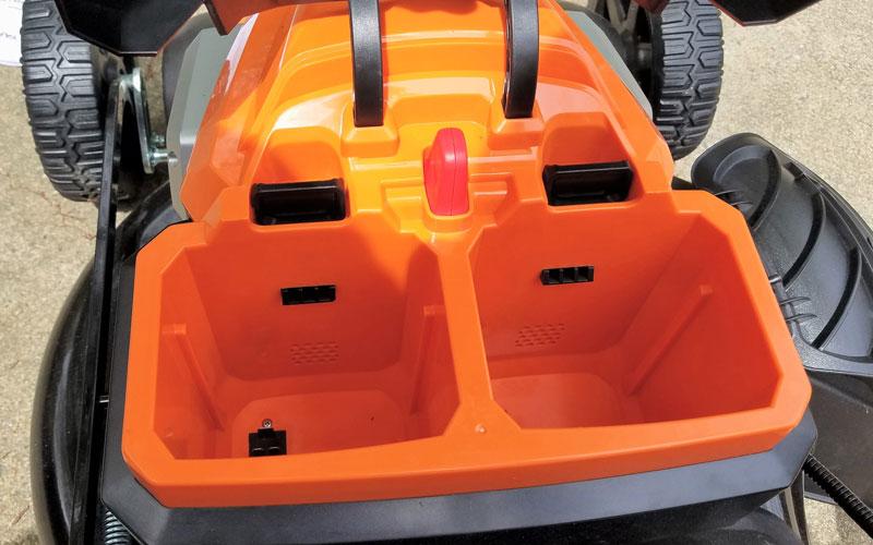 Yard Force 120V Cordless Mower inserting li-ion batteries