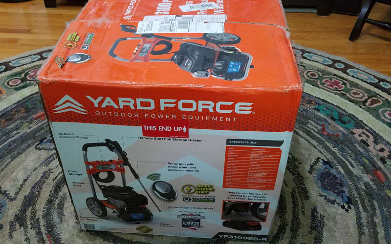 Yard Force Pressure Washer (YF3100ES-R) box