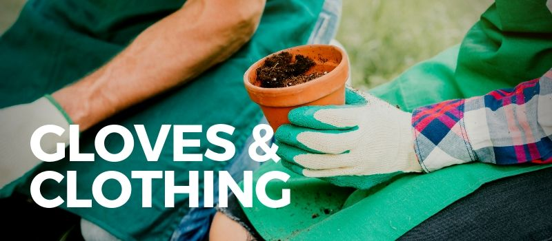 gardening gloves holding a pot