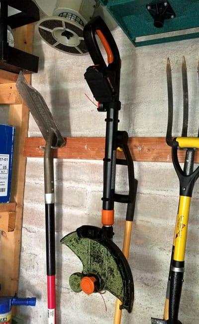Storing the WORX GT Revolution string trimmer