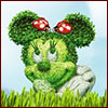 Illustration of a Minnie Mouse topiary
