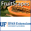 Logo for FruitScapes website over a photo of papaya