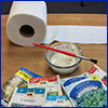 Toilet paper, flour paste, and seeds