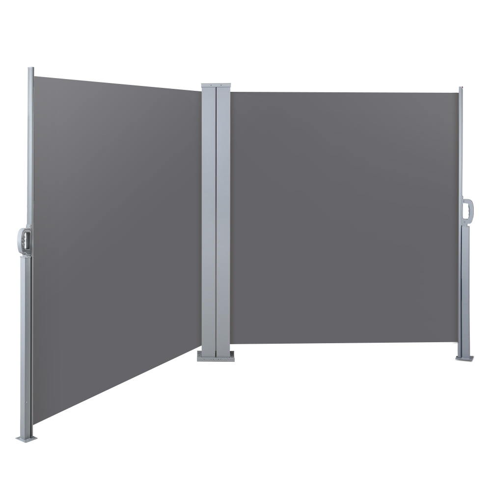 instahut 1 8x6m retractable side awning garden patio shade screen panel grey