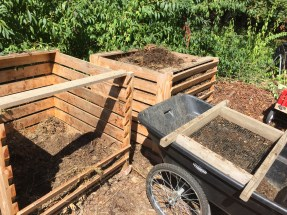 Compost bins and sifter on smartcart