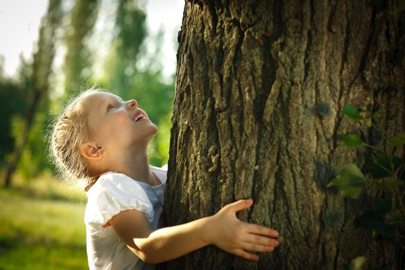 Little girl hugging a tree