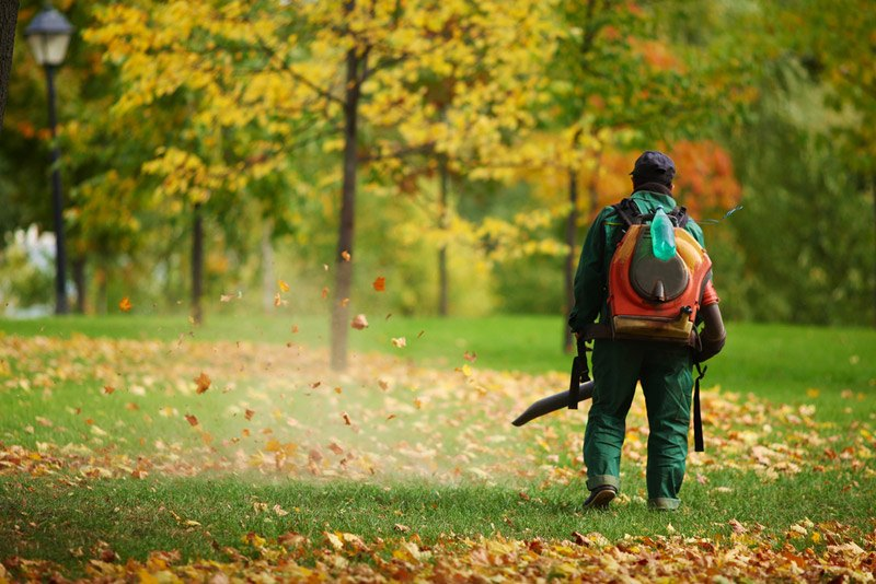 Worker in autumn with a leaf blower