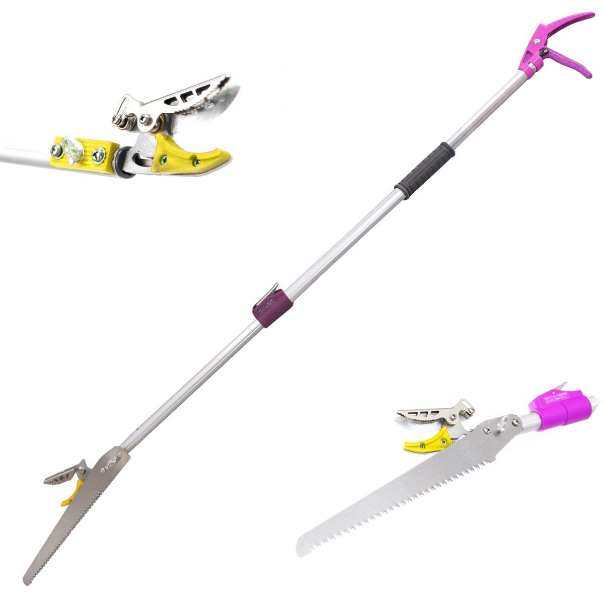 DCM Telescoping Cut and Hold Long Reach Bypass Garden Pruner, Pole Saw