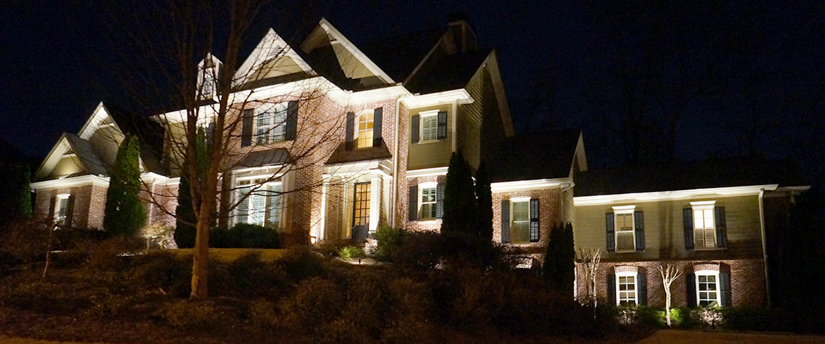 architecture with exterior lights