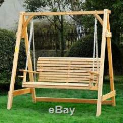Swing Chair Seat Storing Banquet Covers 2 Seater Larch Wood Wooden Garden Hammock Bench Lounger Outdoor