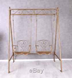 swing chair metal fishing floating garden country style seat vintage