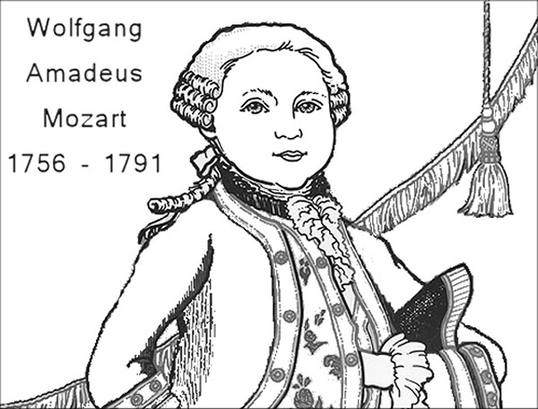 Mozart Playing Piano Coloring Coloring Pages
