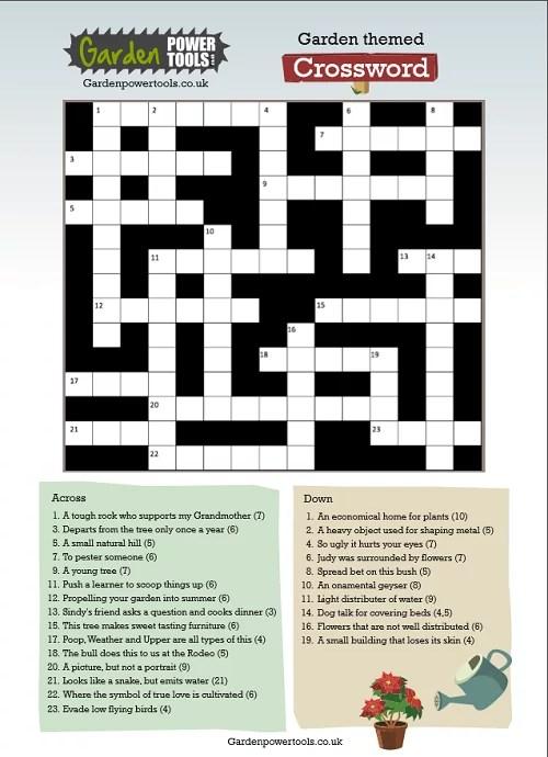 A Challenging Garden Themed Crossword  Garden Power Tools
