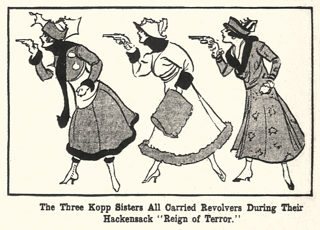 A fanciful newspaper illustration of the Kopp sisters