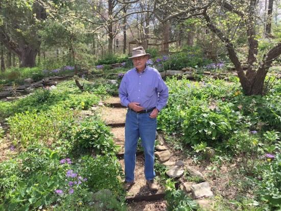 Gene Bush on the hillside.