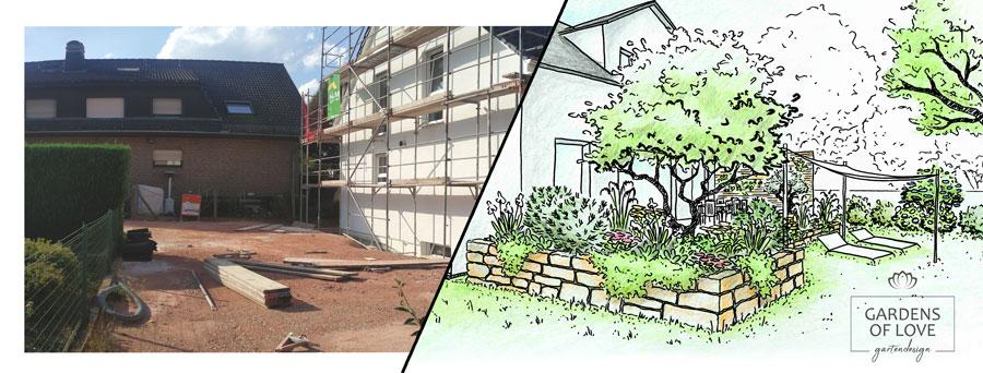 Ein Einfamilinehaus mit Terrasse im Vergleich vor & nach der individuellen Gartengestaltung