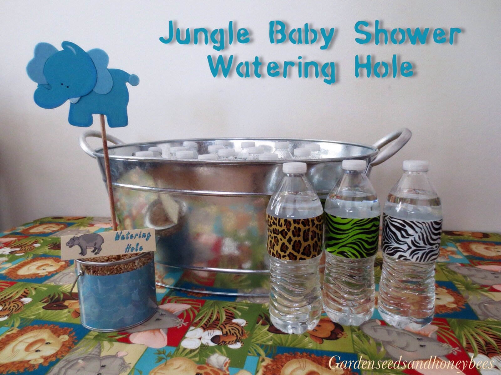 Jungle Baby Shower Watering Hole Garden Seeds and Honey Bees